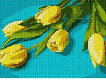 Needlepoint Kit or Canvas: Tulips On Teal