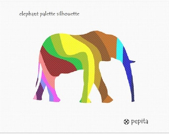 Needlepoint Kit or Canvas: Elephant Palette Silhouette