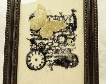 Steampunk Butterfly Fantasy Framed Art Print on Glass