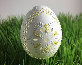 Carved and Wax Embossed Chicken Egg, Easter Pysanky, Polish Pisanka