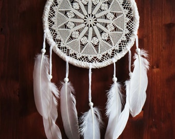 Dream Catcher - Wondering Stars - Unique Dream Catcher with White Handmade Crochet Web and White Feathers - Home Decoration