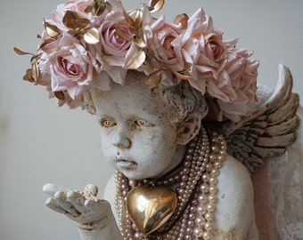 Cherub statue adorned pink rose crown shabby cottage chic distressed ornate angel pearls figure home decor design by anita spero design