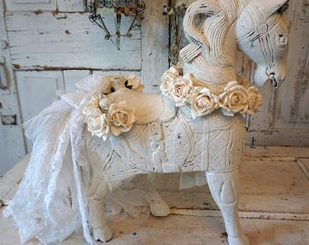 Ornate white horse statue adorned ivory roses and crown large wood carved shabby cottage chic reclaimed sculpture decor anita spero design