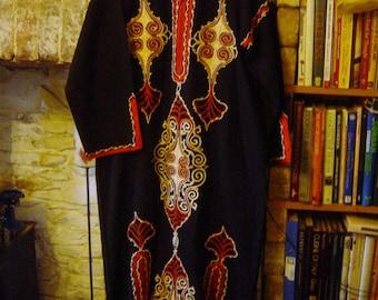 "Vintage 1970's Long Kaftan Egyptian Dress Gown Boho Hippy Bust 44"" Large"