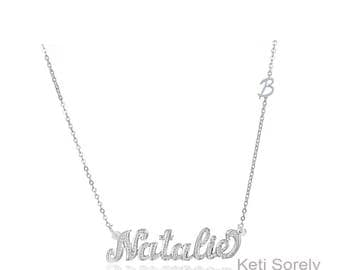 Personalized Name Necklace With Diamond Imitation Pattern & Sideways Initial - 10K, 14K or 18K Gold or Sterling Silver