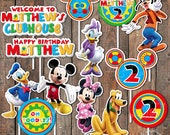 Mickey Mouse Clubhouse Theme Happy Birthday Centerpiece Circles Decorations Personalized