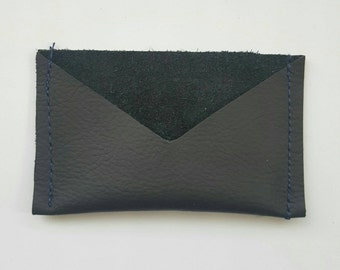Leather card case: Textured black