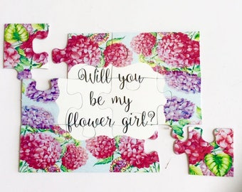 Will you be my flower giri Puzzle Ca -  Flower girl Puzzle Invitation - Ring Security - Ring Bearer Proposal - Wedding Invitation Puzzle