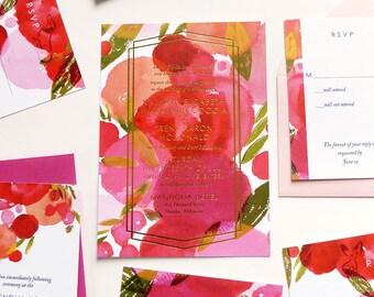Gold Foil, Pink, Modern design, Wedding Invitation, rsvp, Rehearsal Dinner Invite, and Info Card