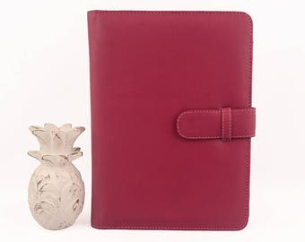READY TO SHIP! A5 Pink Magenta Leather PadFolio / Portfolio / Note Pad Holder, Personalized, 2 inside pockets & buckle closure.