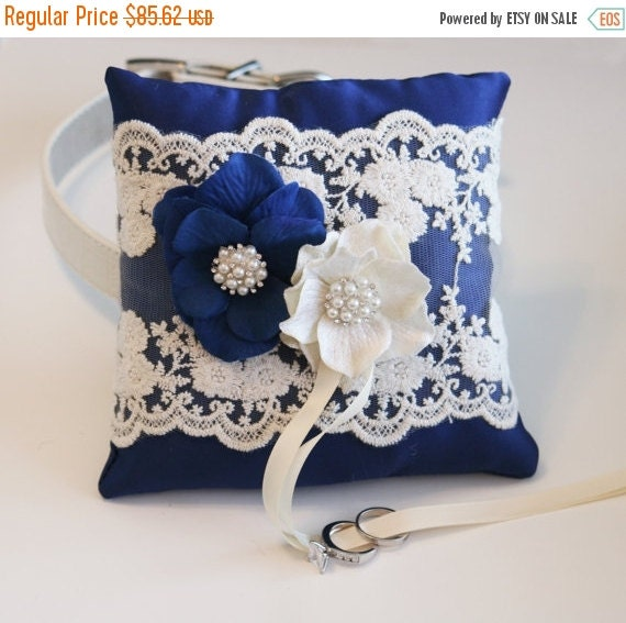 Royal blue ring pillow dog ring bearer by ladogstore on etsy for Dog wedding ring bearer pillow