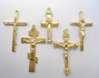 5 Assorted Goldplated Religious Crosses
