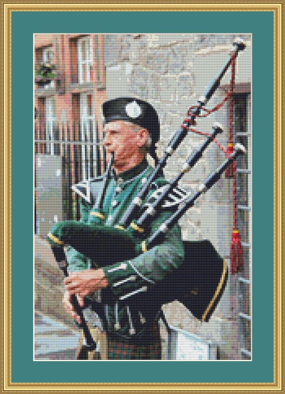 Bagpipes Cross Stitch Pattern /Digital PDF Files /Instant downloadable