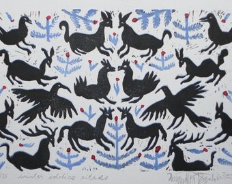 Otomi style , original linocut print, christmas gift, winter home decor