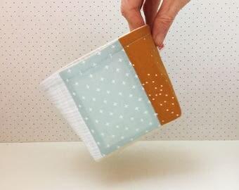 Fabric storage basket - grey, ochre and mint storage - fabric bowl - patchwork home - desk organiser - gift for her - nursery storage