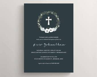 Printable Baptism Invitation \ Christening Invite \ Navy (RD33)
