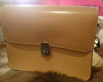 Vegetable tanned leather satchel bag