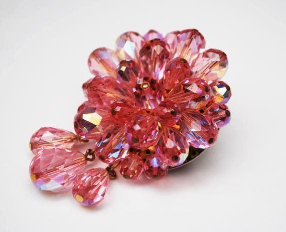 Pink Crystal Dangle  Brooch - cluster Bead -Facet cut glass - round drop pin