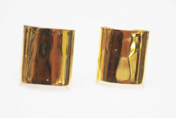 Napier Earrings - Bold Gold plated Rectangle - Clip on earrings