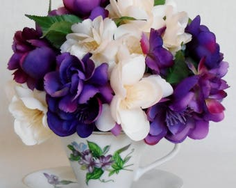 Artificial Flower Teacup  Arrangement, Multi-Shade Purple and Cream Fanciful Silk Roses,  White Floral Teacup, Teacup Arrangement, Decor,
