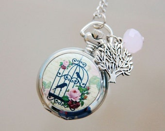 Necklace Pocket watch cage and birds 2222m
