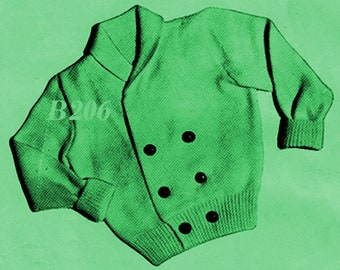 Almost FREE Vintage Infants Double-Breasted Cardigan Sweater #B206 PDF Digital Knit Pattern