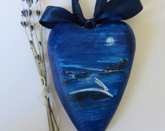 Folk Art primitive home decor painted wooden heart with leaping hare