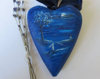 Primitive Folk Art home decor painted wooden heart with moon gazing hare