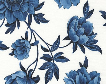 True Blue Large Floral White by Timeless Treasures Geo-C4266-White