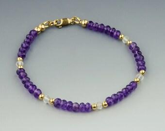 Faceted AAA Amethyst Bracelet w Moonstones & 14K Gold, Handmade February Birthstone Jewelry, Fine Jewelry, Gemstone Bracelet