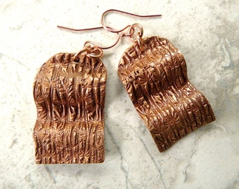 Curvy Bamboo Textured Dangle Earrings, Handmade Rose Bronze Metalwork, with 14K Rose Gold Filled Ear Wires