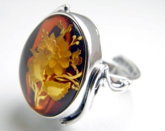 Hand carved baltic amber sterling silver ring - adjustable