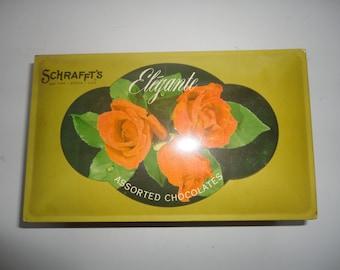 Vintage Schrafft's Elegante Assorted Chocolates Tin Box, Schrafft's Tin Box, Schrafft's, Tin Candy Box, Valentine Days Candy Tin Box, Candy
