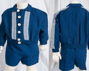 1950s Frances Walsh toddler, blue wool short set. Frances Walsh, Minocqua WI., Chicago. Expertly made, suspenders