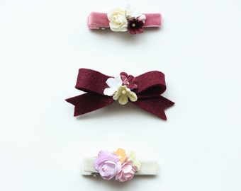 Velvet Bouquet Hairclips - Spring Hairclips - Bow Clips - Flower Hairclips