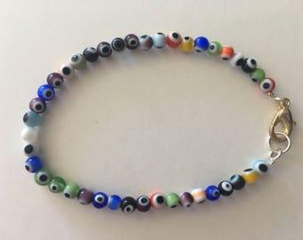 Small evil eye beaded bracelet