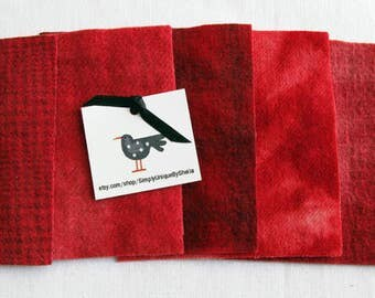 "Hand Dyed Felted Wool Fabric in Red -   5"" x 5""  Red Wool Charm Pack of 5"