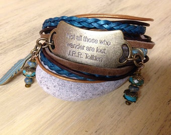 Leather Wrap Bracelet with Charm Gift for girlfriend Womens Bracelet Boho Style Wrap bracelet Tribal bracelet  Tolkien quote
