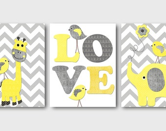 Yellow and Gray Giraffe Elephant Love Canvas Art Nursery Wall Art Baby Room Decor Baby Nursery Decor Baby Boy Nursery Kids Wall Art set of 3