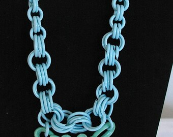 """Vintage 1930s' Celluloid Necklace - """"Minty Bow Beauty"""""""