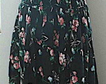 "Vintage Floral Rayon Dress - ""Dancing Butterflies and Flowers"" - SALE"
