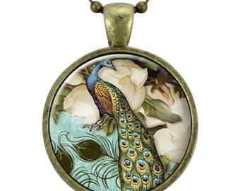Peacock Necklace, Victorian Style Peacock Jewelry Glass Art Pendant (0857B25MMBC)