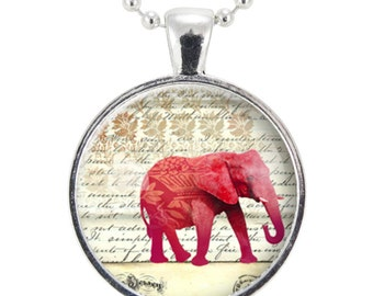 Red Elephant Necklace, Gift Ideas For Her, Lucky Elephant Jewelry (1065S25MMBC)