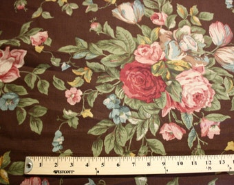 Rose Floral Pattern Linen Fabric Per Yard