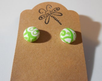 Green Paisley Button Earrings
