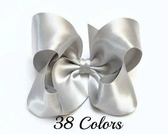 Silver Hair Bow, Satin Hair Bow, 4 Inch Hair Bows, Toddler Hair Bows, Girls Hair Bows, Hair Bows, Hairbows, Hair Bows for Girls, Adult Bows