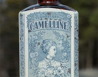 Nice antique CAMELLINE bottle - old AMBER colored bottle San Francisco California - early 1900.