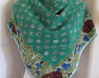 """Vintage Green Floral Soft Silk Scarf 30"""" Square - Affordable Scarves!!!"""