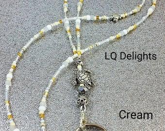 Beaded Lanyard Sea Turtle Cream Beige ID Badge Holder LQ Expressions