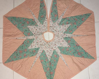 Vintage Handcrafted Star Quilt Christmas Tree Skirt